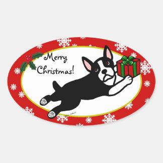 Navidad de Boston Terrier 2 copos de nieve del Pegatina Ovalada