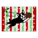 Navidad de Boston Terrier 2 copos de nieve del Tarjeta De Felicitación