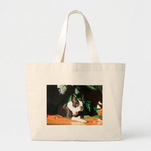 Navidad de Boston Terrier con el gaitero Bolsas De Mano