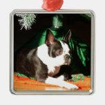 Navidad de Boston Terrier con el gaitero Ornamentos De Navidad
