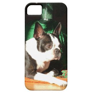 Navidad de Boston Terrier con el gaitero Funda Para iPhone SE/5/5s