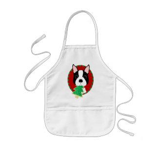 Navidad de Boston Terrier Delantal Infantil