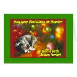 Navidad de Boston Terrier Felicitación