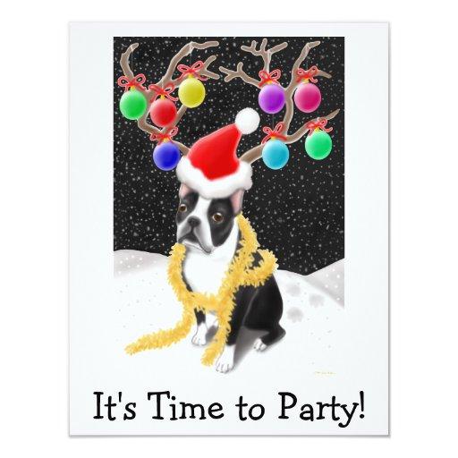 """Navidad de Boston Terrier Invitación 4.25"""" X 5.5"""""""