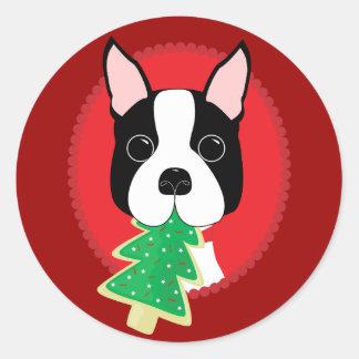 Navidad de Boston Terrier Pegatina Redonda