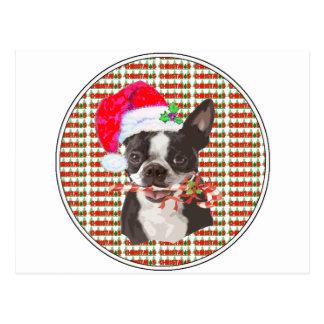 Navidad de Boston Terrier Postal