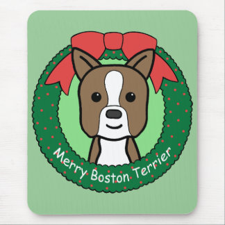 Navidad de Boston Terrier Tapetes De Ratón