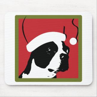 Navidad de Boston Terrier Tapete De Raton