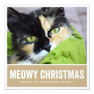 Navidad de Brown Meowy - tarjetas del día de Invitación Personalizada