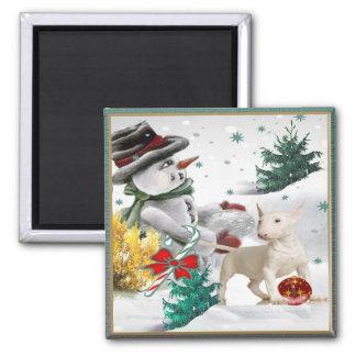 Navidad de bull terrier con el muñeco de nieve iman de nevera