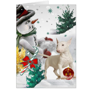 Navidad de bull terrier con el muñeco de nieve felicitación