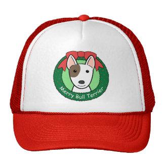 Navidad de bull terrier gorro de camionero