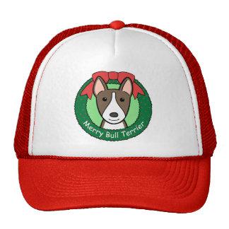Navidad de bull terrier gorros
