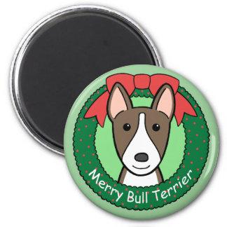 Navidad de bull terrier imán de nevera