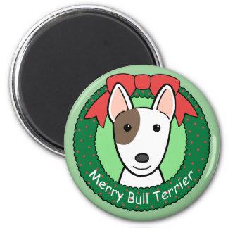 Navidad de bull terrier imán de frigorífico