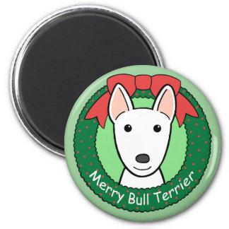 Navidad de bull terrier iman de frigorífico