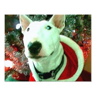 """navidad de bull terrier invitación 4.25"""" x 5.5"""""""