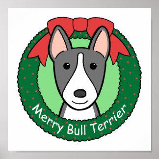 Navidad de bull terrier impresiones