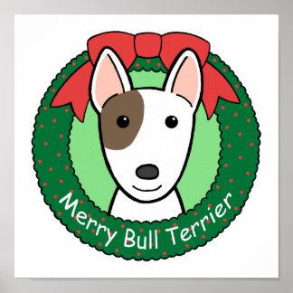 Navidad de bull terrier póster