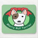 Navidad de bull terrier tapete de ratón