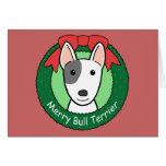 Navidad de bull terrier tarjetas