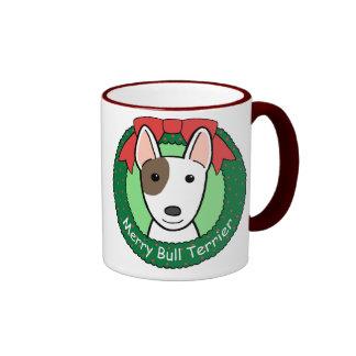 Navidad de bull terrier taza a dos colores
