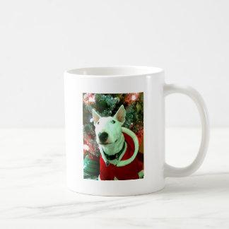 navidad de bull terrier taza básica blanca