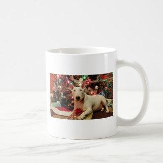navidad de bull terrier taza clásica