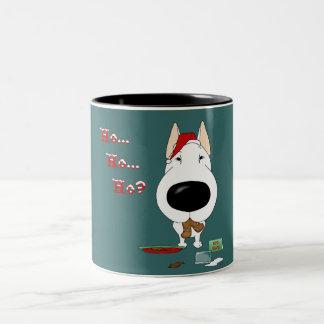Navidad de bull terrier taza de dos tonos