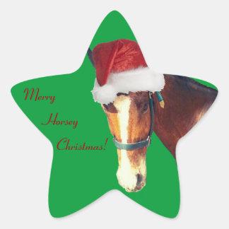 Navidad de caballo colcomanias forma de estrellaes personalizadas