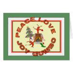 Navidad de Cajun del Gumbo del amor de la paz Tarjeta De Felicitación