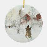 Navidad de Carl Larsson en Suecia Adorno Navideño Redondo De Cerámica