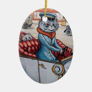 Navidad de Chaffeur del gato de Louis Wain Adorno Navideño Ovalado De Cerámica