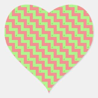 Navidad de Chevron en colores pastel Pegatina En Forma De Corazón