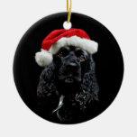 Navidad de cocker spaniel adorno navideño redondo de cerámica
