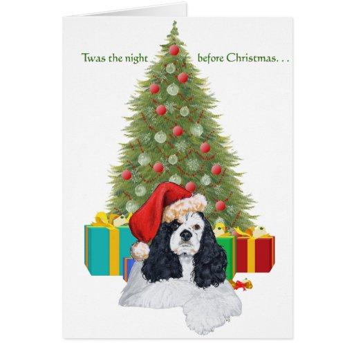 Navidad de cocker spaniel del americano tarjeton
