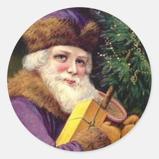 Navidad de color morado oscuro antiguo del juego pegatina redonda