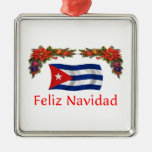 Navidad de Cuba Adorno Cuadrado Plateado