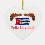 Navidad de Cuba Adorno Navideño De Cerámica En Forma De Corazón
