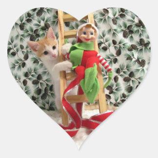 Navidad de Elfin de Annie Pegatina En Forma De Corazón