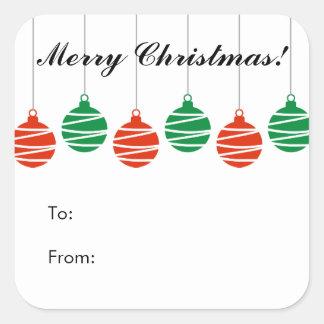 Navidad de encargo a y desde los pegatinas de la pegatina cuadrada