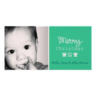Navidad de encargo de la corona de la pizarra 3 de tarjetas fotograficas personalizadas