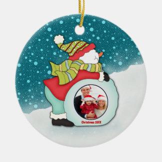Navidad de encargo de la foto del muñeco de nieve  ornamento para arbol de navidad