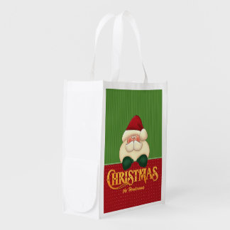 Navidad de encargo de Santa el   el   rojo y verde Bolsa Para La Compra