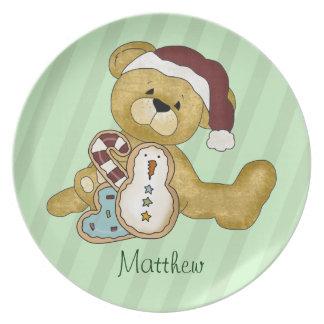 Navidad de encargo del oso de peluche plato para fiesta