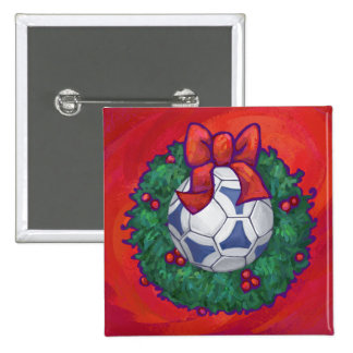 Navidad de Futbal Pin Cuadrada 5 Cm