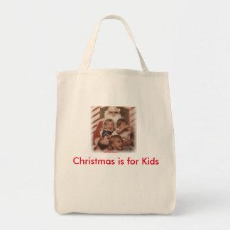 Navidad de gimoteo del amor de los niños bolsa tela para la compra