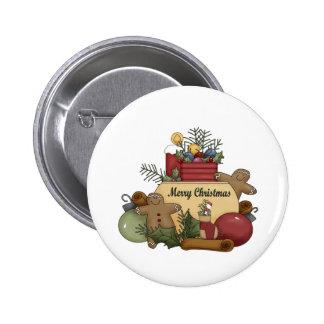 Navidad de Gingerman Pin Redondo De 2 Pulgadas