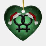 Navidad de GLBT - Verde de la lesbiana Ornamentos Para Reyes Magos