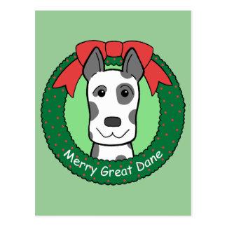 Navidad de great dane postal